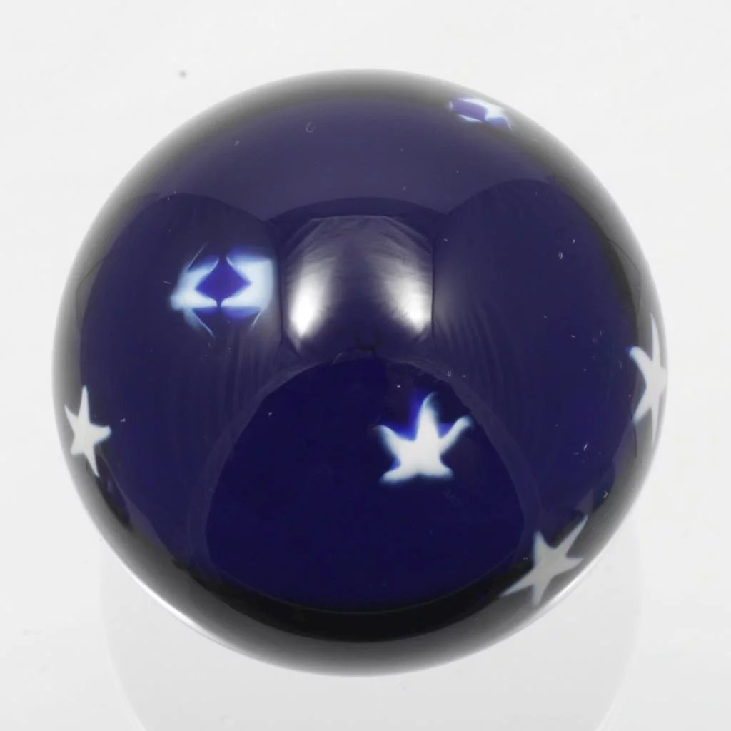 Glass Eye Studio Marble Paperweight Cobalt Stars In The