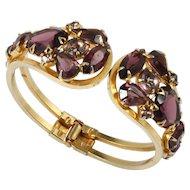 Juliana Amethyst Rhinestone Clamper Bracelet Vintage 1960s Delizza and Elster