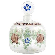 Salir Buccalleti Enamelled Perfume Bottle Murano Glass Signed Roses Flowers Vintage