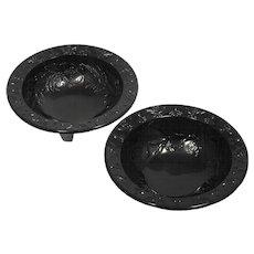 US Glass Rose and Thorn Bowls Black Elegant Glass Vintage Depression Era