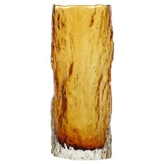 Vintage Amber Bark Art Glass Vase Textured Cased Glass Mid Century Modern