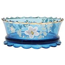 Jefferson Vogue Blue EAPG Bowl Scalloped Skirt Enameled Flowers Antique Glass