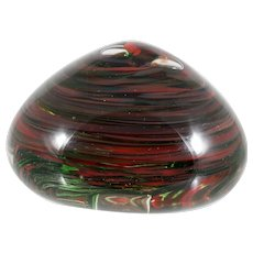 Studio Art Glass Paperweight Signed Bonnie Orange Black Hand Made