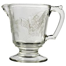 EAPG Glass Creamer Pansy and Moss Rose Campbell Jones and Co Antique Pressed Jug