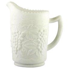 Imperial Glass Vintage Grape Milk Glass Doe Skin Pitcher 16 ounce Satin Glass