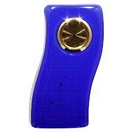 Cobalt Blue Glass Desk Clock Wave Shape Paperweight Art Glass