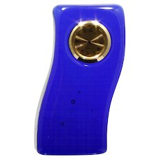 Cobalt Blue Glass Desk Clock Wave Shape Paperweight Art Glass