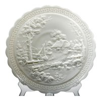 Imperial Milk Glass Log Cabin Plate Vintage with Greek Key Border Cottage House