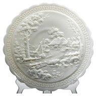 Imperial Milk Glass Log Cabin Plate Vintage with Greek Key Border Cottage House