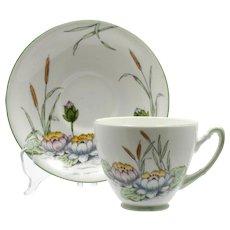 Water Lily Tea Cup and Saucer Vintage English Royal Stafford Bone China
