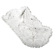 American Brilliant Cut Glass Celery Dish Antique Cut Crystal Hobstars