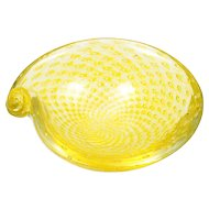 Lemon Yellow Murano Glass Bowl Controlled Bubbles Vintage Mid Century Modern Italian Shell