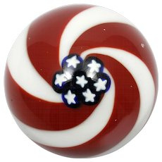 Glass Eye Studio Paperweight Old Glory Red White Blue Flag Patriotic