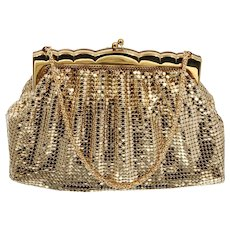 Whiting and Davis Gold Mesh Purse Vintage 1950s Mid Century Handbag