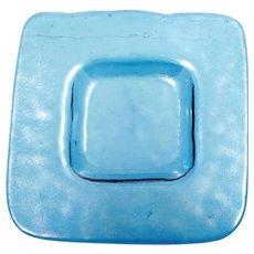 Mesolini Blue Art Glass Small Plate Square hand Made Washington State