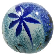 Studio Art Glass Paperweight Blue and teal Hand Made Ocean Style