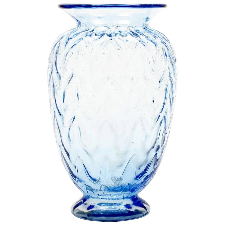 Fenton Blue Art Glass Vase Limited Edition Sculptured Ice Optics
