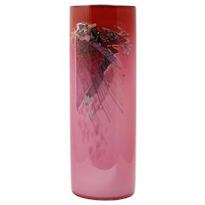 Glasshouse Studio Pink Abstract Vase Vintage Hand Blown Studio Art Glass Seattle Signed