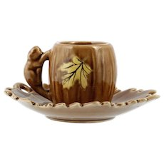 Shafford Pottery Squirrel and Leaf Miniature Cup and Saucer Vintage 1950s