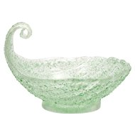 Murano Glass Fratelli Toso Green Overshot Art Glass Shell Bowl Candle Holder Italian Vintage