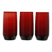 Anchor Hocking Royal Ruby Newport Tumblers Set of 3 Vintage Glass