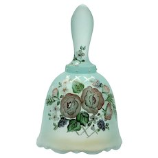 Fenton Green Bell Wild Rose Opalescent Art Glass Designer Series Ltd Ed