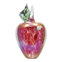 Jacob Glassworks Vintage Apple Paperweight Iridescent Art Glass Hand Made MSH Ash 1988