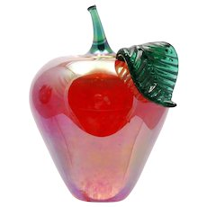 Glass Eye Studio Apple Paperweight Red and Green Signed