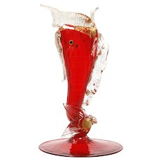 Salviati Murano Glass Serpent Vase Ruby Red Gold Aventurine Vintage Hand Blown Fish