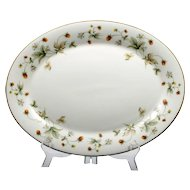 Royal Doulton Strawberries and Cream Serving Platter Vintage English Porcelain Oval Plate
