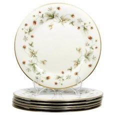 Royal Doulton Strawberries and Cream Dinner Plates Set 6 Vintage