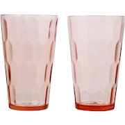 Jeannette Hex Optic Depression Glass Pink Tumblers Vintage 1930s Pair