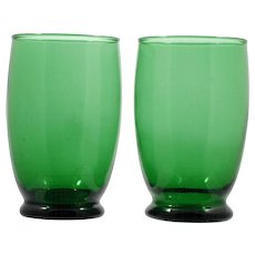 Anchor Hocking Forest Green Glass Baltic Tumblers Vintage Mid Century Modern Water