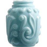 Blue Antique Glass Salt Shaker Gaudy Scroll Gillinder Opaque Milk Glass