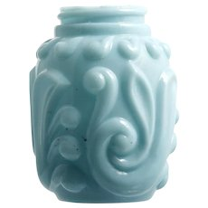 Blue Antique Glass Salt Shaker Gaudy Scroll Gillinder Opaque Milk Glass