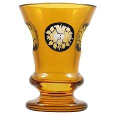 Goldberg Bohemian Art Glass Vase Amber Cut to Clear Egermann Engraved Flowers
