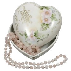 Hand Painted Heart Trinket Box Vintage Porcelain China Pink Flowers