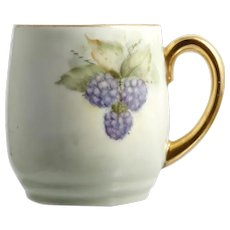 Blackberry Hand Painted China Mug Green Gold Signed Lovita Pedersen Porcelain