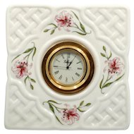 Belleek Country Trellis Porcelain Clock Irish Basketweave with Pink Lilies