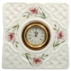 Belleek Country Trellis Porcelain Clock Irish Basketweave with Pink Lilies