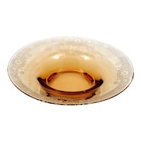 Fostoria Vesper Amber Glass Bowl Etched Centerpiece Vintage 1920s Elegant Glass