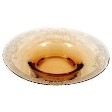 Fostoria Vesper Amber Glass Bowl Etched Centerpiece Vintage 1920s Elegant Glass