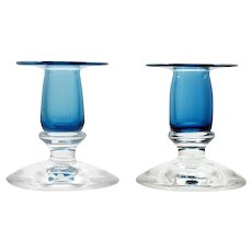 Vermont Glass Workshop Candle Holders Blue and Crystal Signed Studio Artist