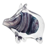 Alum Bay Art Glass Pig Figurine Paperweight Purple Hand Blown Isle of Wight