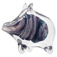 Alum Bay Art Glass Pig Figurine Paperweight Purple Hand Blown Isle of Wight
