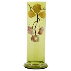 Antique Art Glass Coralene Cherries Green Bohemian or English