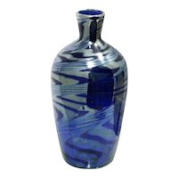 Iridescent Blue Art Glass Vase Hand Blown Studio Glass Cobalt Blue