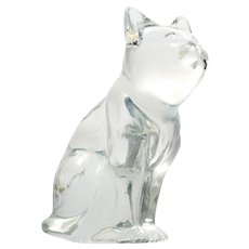 Fenton French Opalescent Cat Figurine Paperweight Vintage Art Glass White