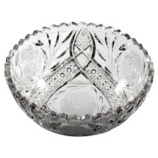American Brilliant Cut Glass Bowl White Rose by Irving Antique 1900s