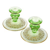 Cambridge Elegant Glass Green Candlestick Holders 719 Etch Gold Encrusted 1930s